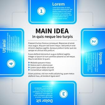 Infográfico azul brilhante, com quatro guias