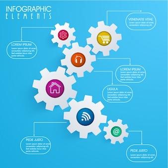 Infográfico azul com engrenagens cinzentas e círculos coloridos