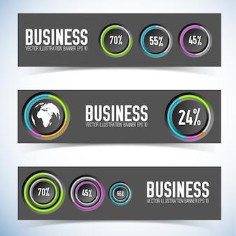 Infográfico banners horizontais com botões redondos, anéis coloridos, ícone mundial e taxas percentuais isoladas