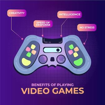 Infográfico benefícios de jogar videogame