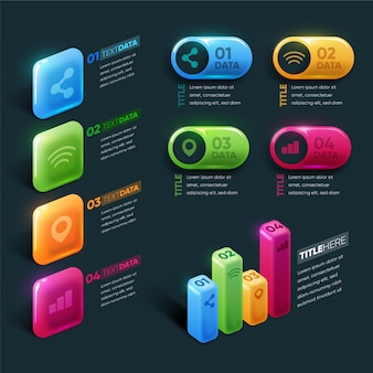 Infográfico brilhante 3d colorido
