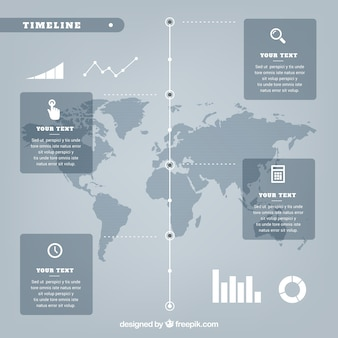 Infográfico cinzento com mapa do mundo