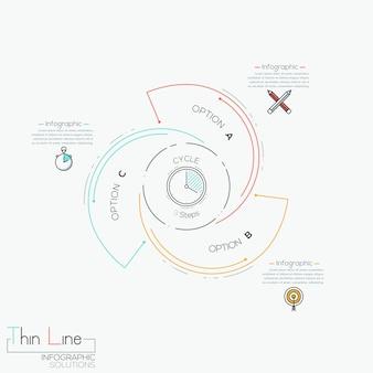 Infográfico circular com 3 elementos em espiral com letras