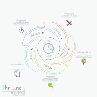Infográfico circular com 5 elementos em espiral com letras