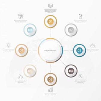Infográfico círculo 8 opção ou etapas e ícones.