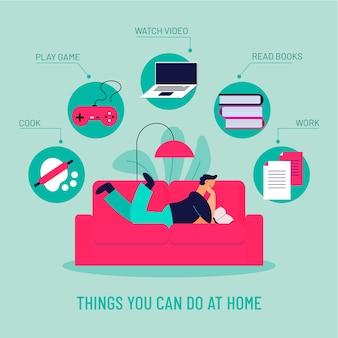 Infográfico coisas para fazer em casa