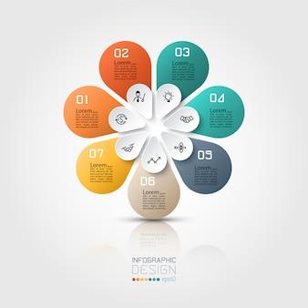 Infográfico colorido 7 opções com forma oval em círculo.