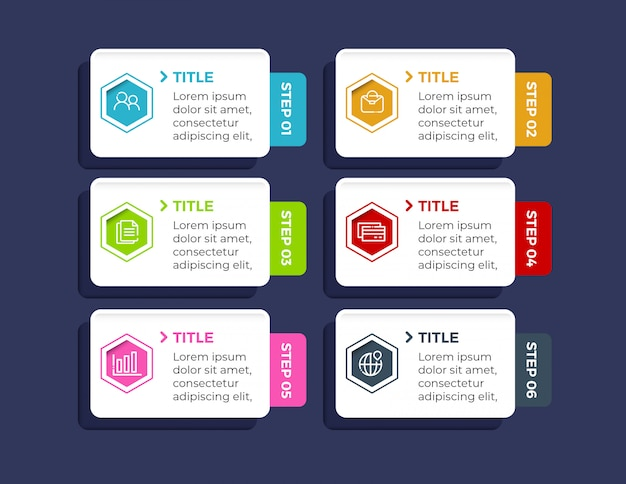 Infográfico colorido com 6 opções de passos em estilo simples