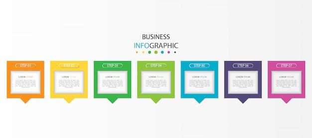 Infográfico colorido com 7 etapas ou opções