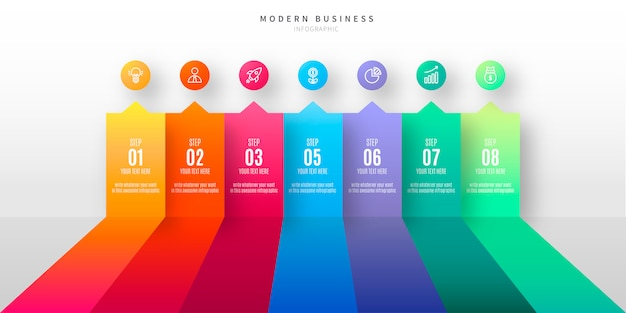 Infográfico colorido com etapas de negócios