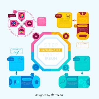 Infográfico colorido com etapas
