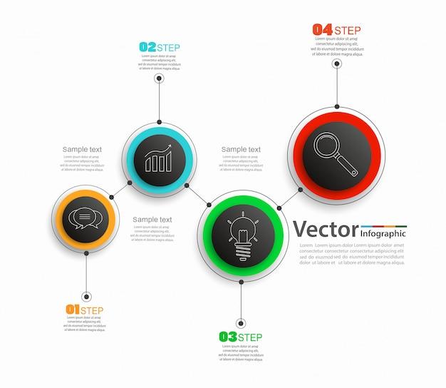 Infográfico colorido com ícones de negócios