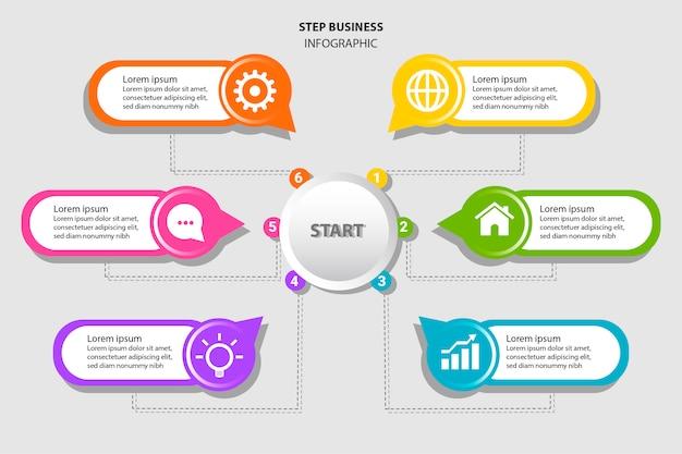 Infográfico colorido com seis etapas em estilo simples