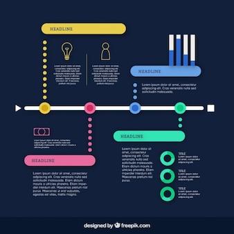 Infográfico colorido cronograma com quatro fases