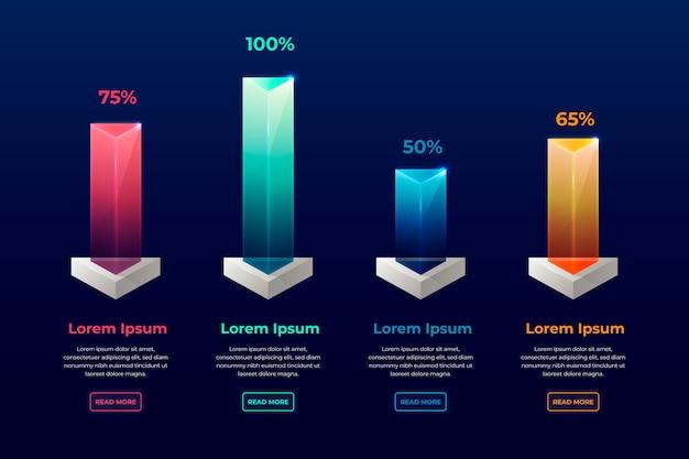 Infográfico colorido de barras 3d