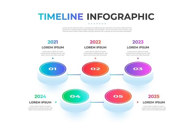 Infográfico colorido de linha do tempo isométrica Vetor grátis