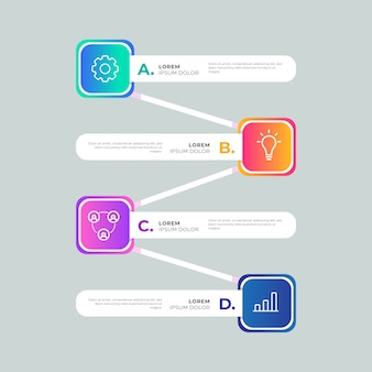 Infográfico colorido de modelo gradiente