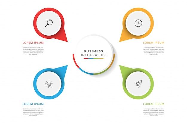 Infográfico colorido de negócios com etapas ou opções