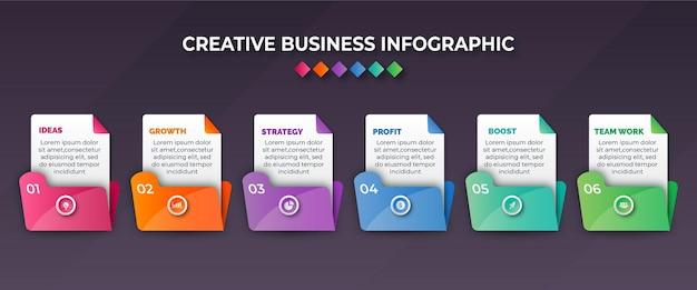 Infográfico colorido de negócios com seis etapas