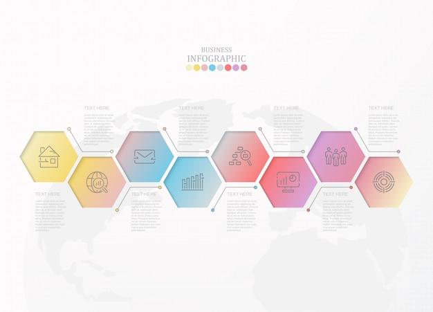 Infográfico colorido e ícones para o conceito de negócio.