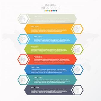Infográfico colorido e trabalho homem ícones para o conceito de negócio.
