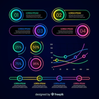 Infográfico colorido gradiente em luzes de neon