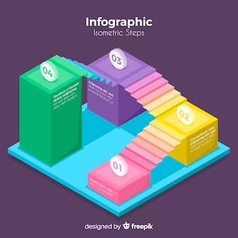Infográfico colorido isométrico passos coleção