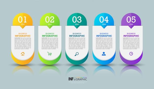 Infográfico colorido modelo com cinco etapas
