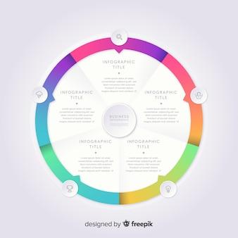Infográfico colorido modelo em gradiente