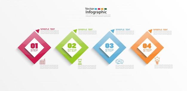 Infográfico colorido moderno elementos com quatro etapas e quadrados coloridos