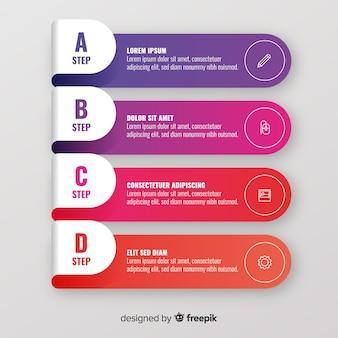 Infográfico colorido passos coleção
