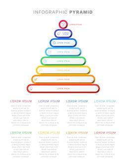 Infográfico colorido pirâmide com oito níveis de elementos 3d com sombras, ícones de uma linha e texto