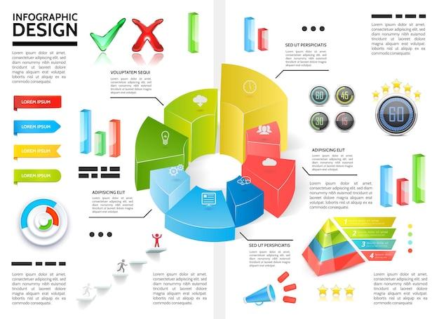 Infográfico colorido realista com gráficos de diagramas de círculo, fitas de pirâmide, marcas de seleção, barras de megafone, ícones de negócios, ilustração