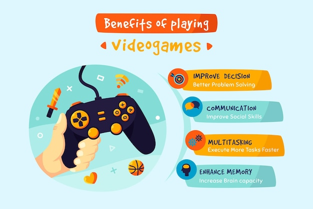 Infográfico colorido sobre os benefícios de jogar jogos