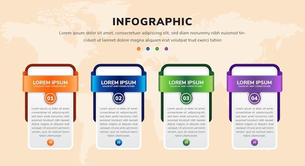 Infográfico com 4 elementos retangulares