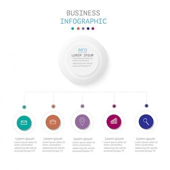 Infográfico com 5 etapas ou opções, fluxo de trabalho, diagrama de processo