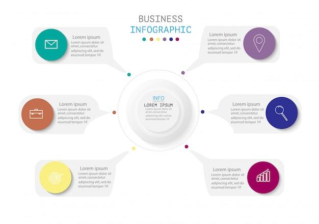 Infográfico com 6 etapas ou opções, fluxo de trabalho, diagrama de processo