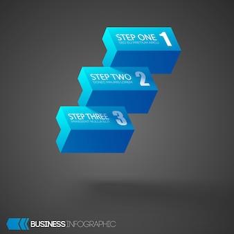 Infográfico com blocos geométricos horizontais azuis três etapas no escuro