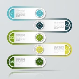 Infográfico com cinco reticências de caixas de texto pode ser usado para negócios, educação, planejamento, fluxo de trabalho ou diagramas de linha do tempo