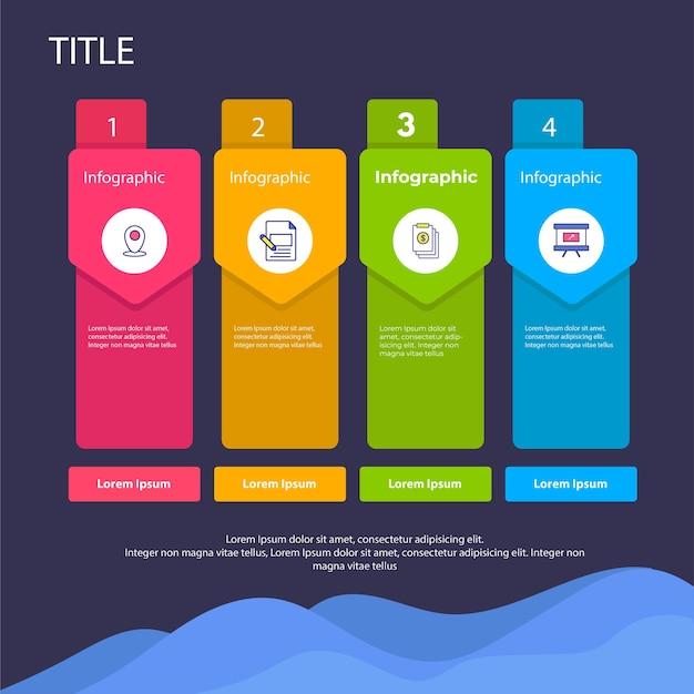 Infográfico com conjunto de infográfico de 4 etapas