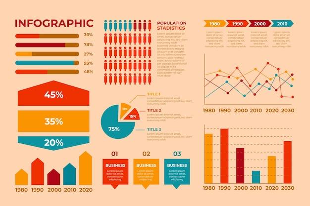 Infográfico com cores retrô em design plano