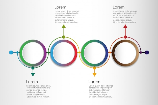 Infográfico com cronograma e 4 elementos circulares conectados mensais