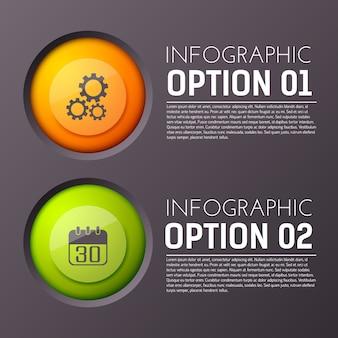Infográfico com duas opções de parágrafos de texto editável e ícone de círculo apropriado