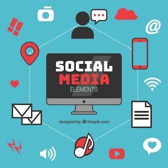 Infográfico com elementos de redes sociais