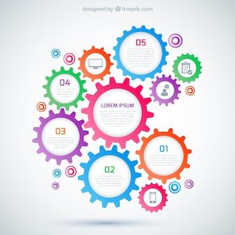Infográfico com engrenagens coloridas