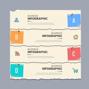 Infográfico com estilo de papel rasgado