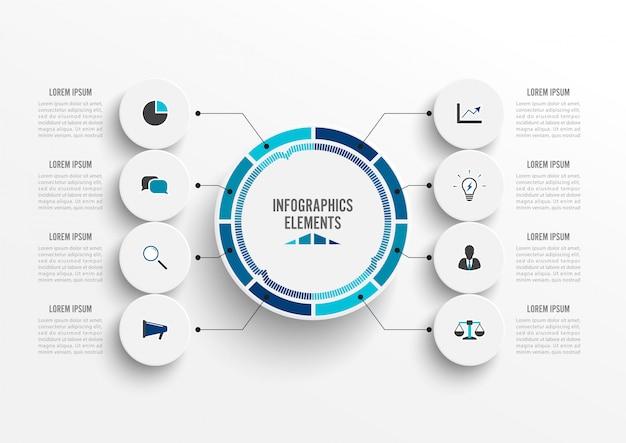 Infográfico com etiqueta de papel 3d