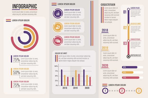 Infográfico com fases de cores retrô