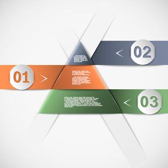 Infográfico com forma de pirâmide ou triângulo, três opções com números e modelo de texto