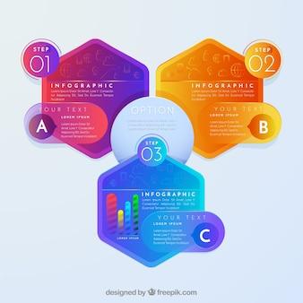 Infográfico com formas hexagonais coloridas